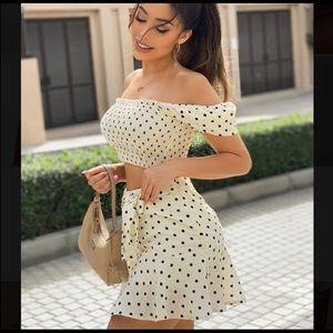Polka Dot Cropped Top Skirt Set